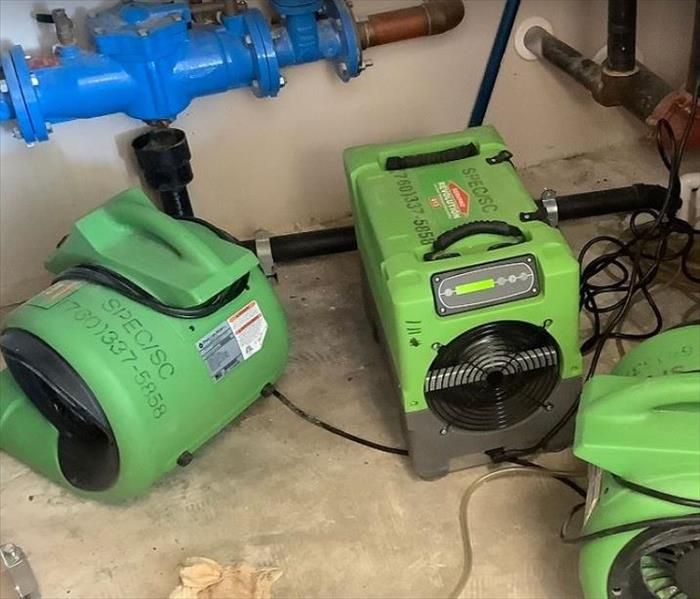 SERVPRO drying equipment being used in commercial property